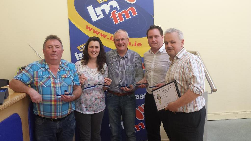 At LMFM with Gerry Kelly and our fellow Meath winners at Blas na hEireann 2014